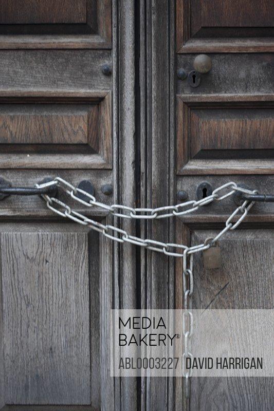 Wood Door Locked with Chain