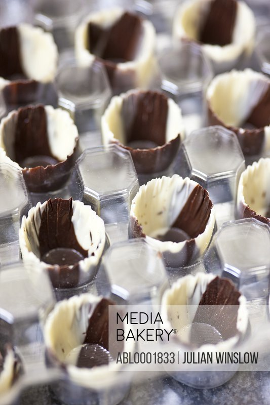 Close up of rows of chocolate cases