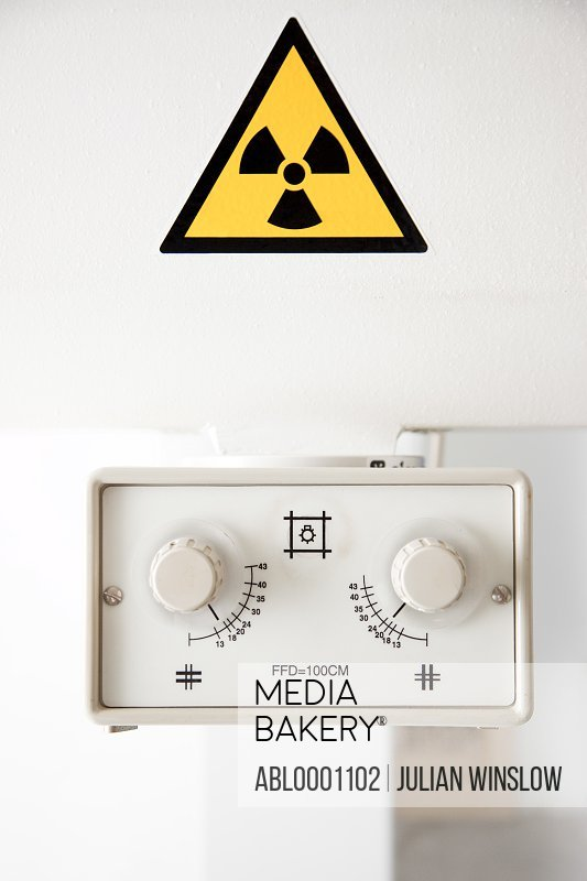 Control knobs and radiation symbol
