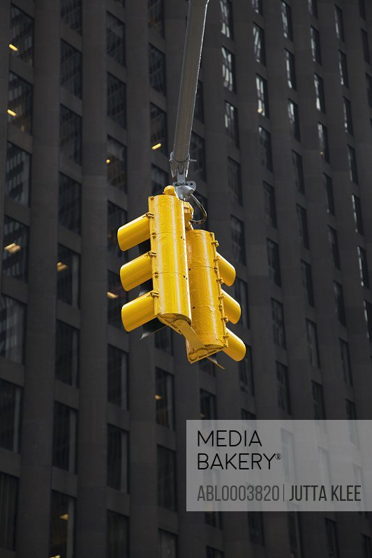 Traffic Lights and Skyscraper, New York City, Low Angle View