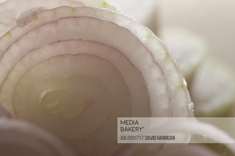 Extreme close up of onion slices