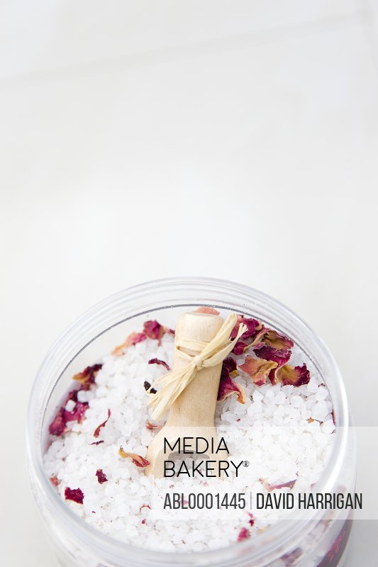 Close up of a jar of bath salts