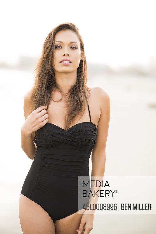Woman Wearing Black Swimsuit
