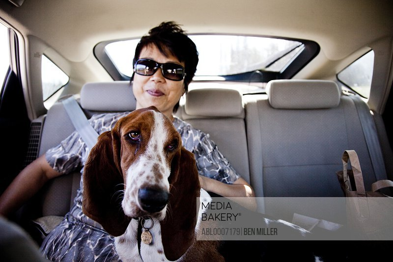 Woman and Dog in Car Back Seat