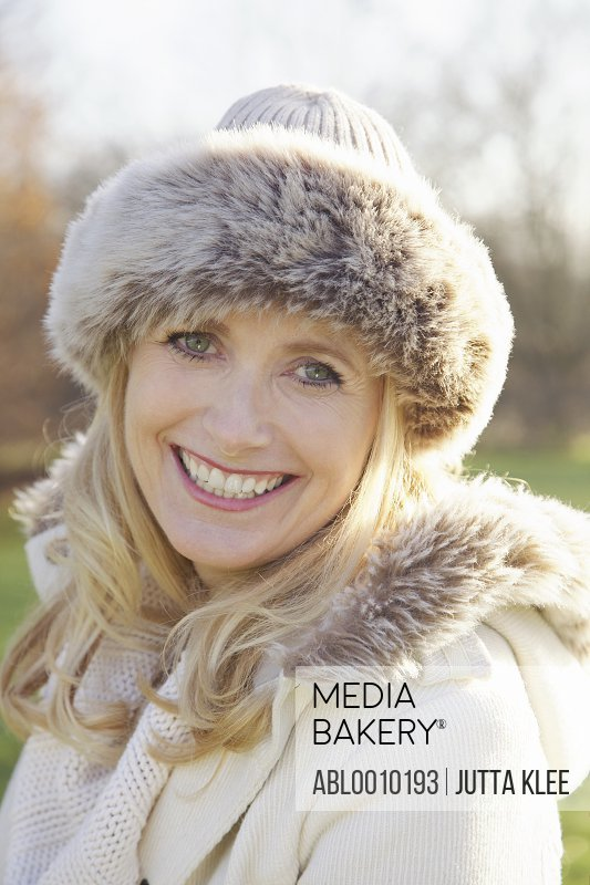 Woman Wearing Fur Trim Hat Outdoors