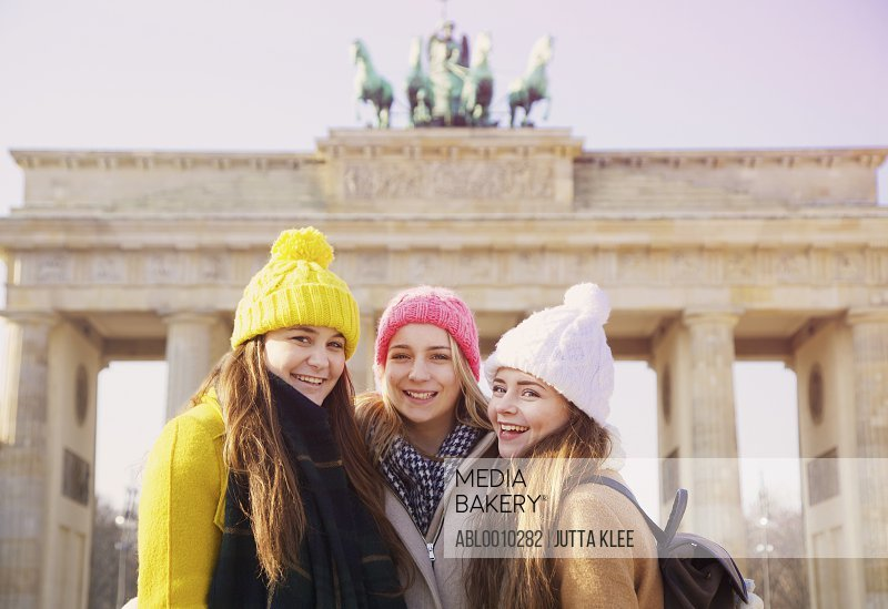 Teenage Girls in front of the Brandenburg Gate, Berlin, Germany