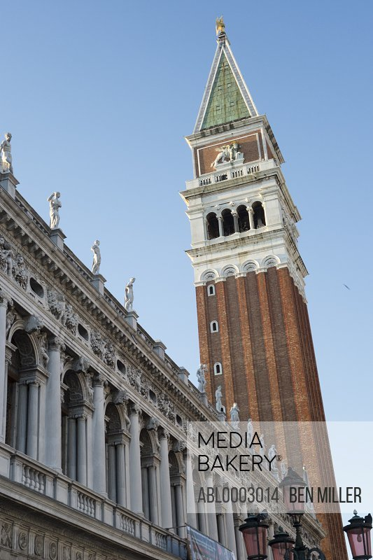 National Library of St Mark's and St. Mark's Campanile, Venice, Italy