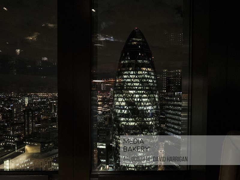 The Gherkin Building at Night, 30 St Mary Axe, London, England, UK