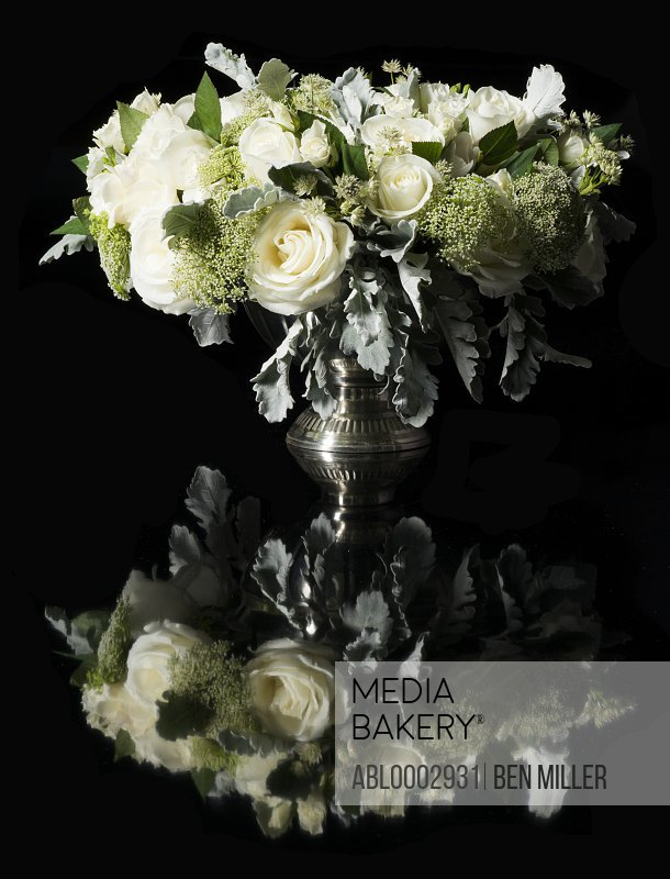 Bouquet of White Roses and Wild Chervil Flowers