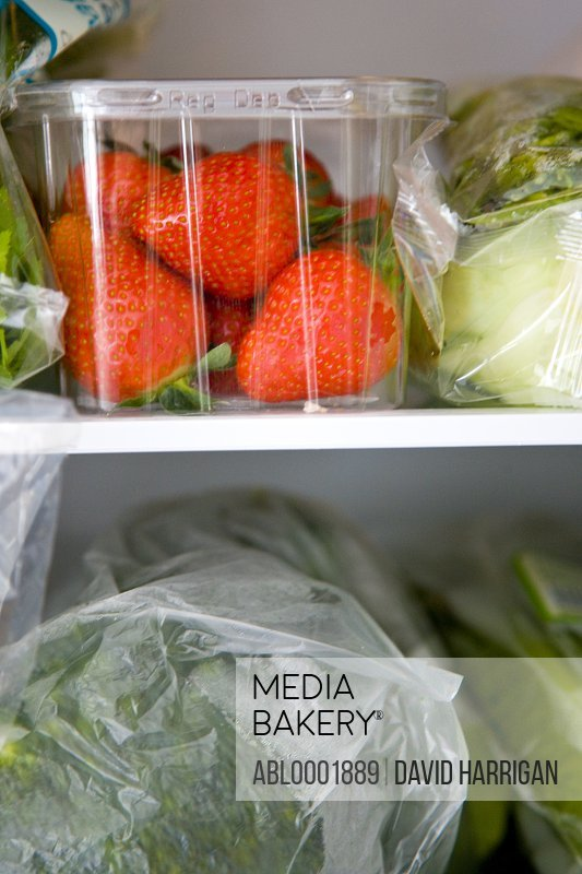 Refrigerator filled with fruit and vegetables