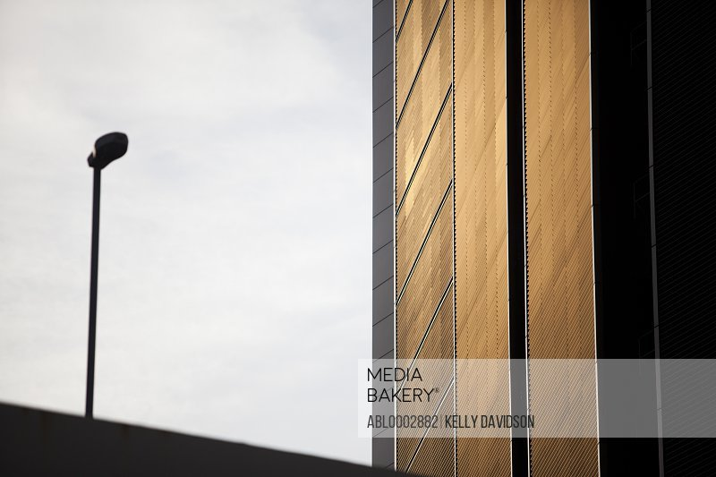 Office Building and Street Lamp, Low Angle View