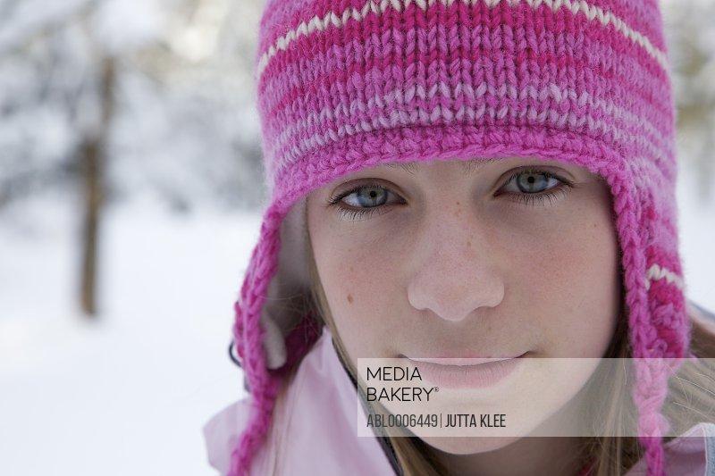 Girl Wearing Pink Woolly Hat