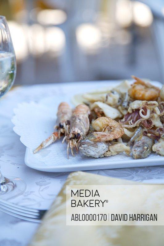 Fried seafood with prawn and calamari