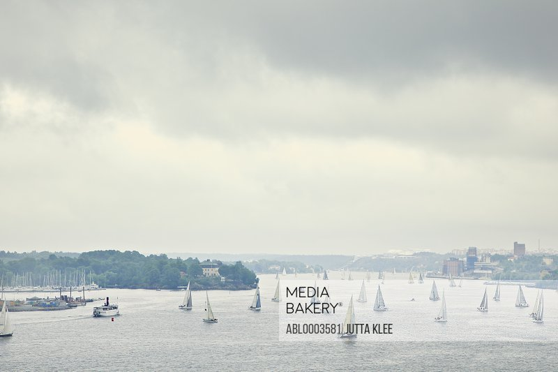 Aerial View of Sailboats in Stockholm, Sweden