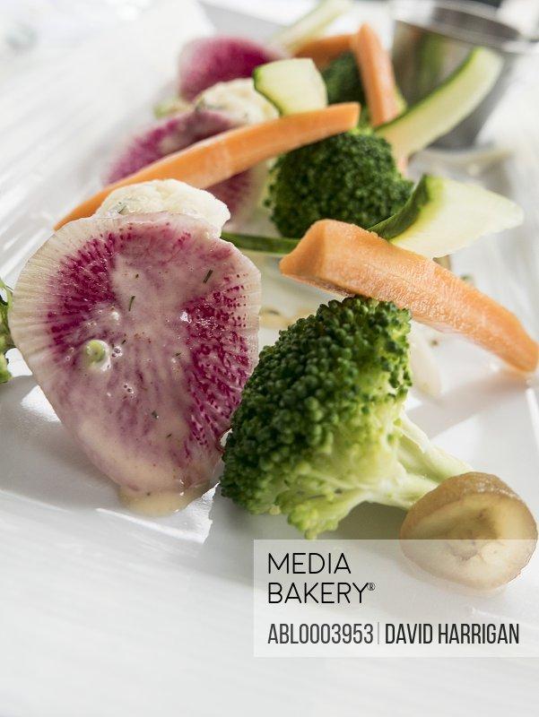 Broccoli, Carrots and Watermelon Radish Salad