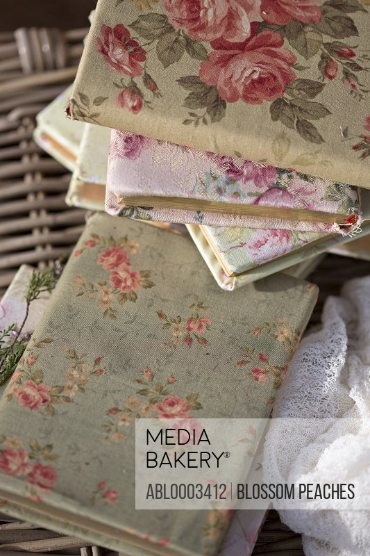 Flower Pattern Fabric Covered Books, Close-up View
