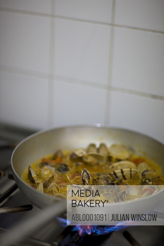 Frying pan with seafood sauce