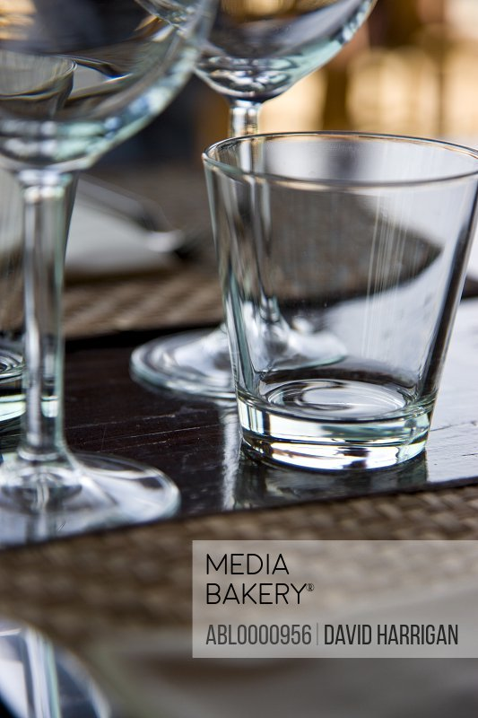 Close up of glasses on a restaurant table