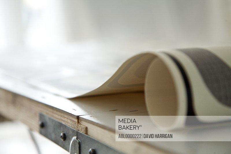 Wallpaper roll on wallpaper table