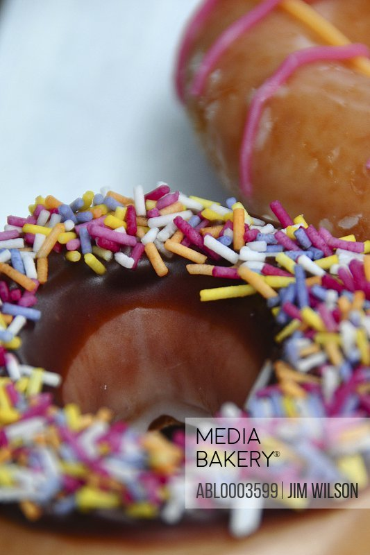 Close up of a Doughnut with Multicoloured Sprinkles