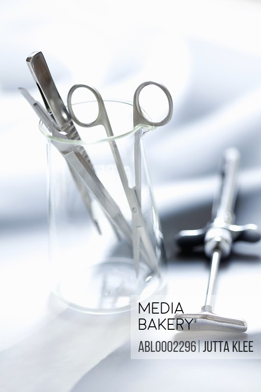 Surgical Instruments in Glass Container