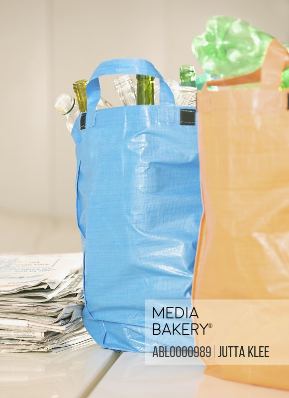 Close up of recycling bags full of garbage