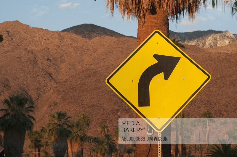 Right Turn Road Sign on Palm Tree, Palm Springs, California, USA