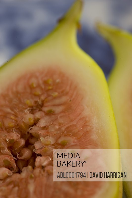 Extreme close up of a sliced fig