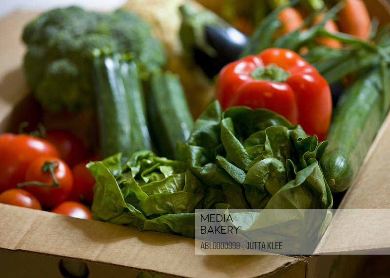 Close up of a box full of organic vegetables