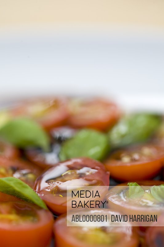 Cherry tomatoes and basil leaves in olive oil and balsamic vinegar dressing