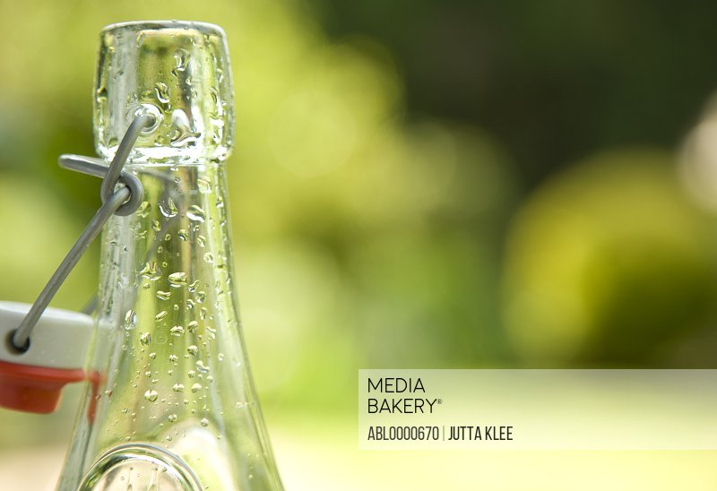 Detail of an empty glass bottle and stopper