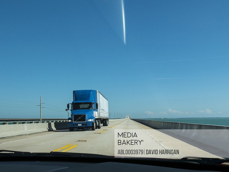 Truck Driving on the Seven Mile Bridge, Florida Keys, USA