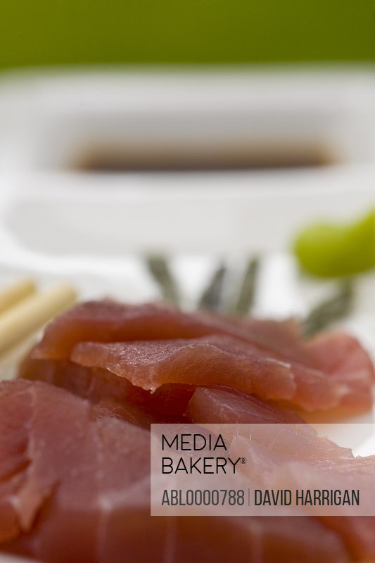 Plate of sushi with sliced tuna fish
