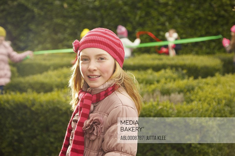 Smiling Young Girl Outdoors
