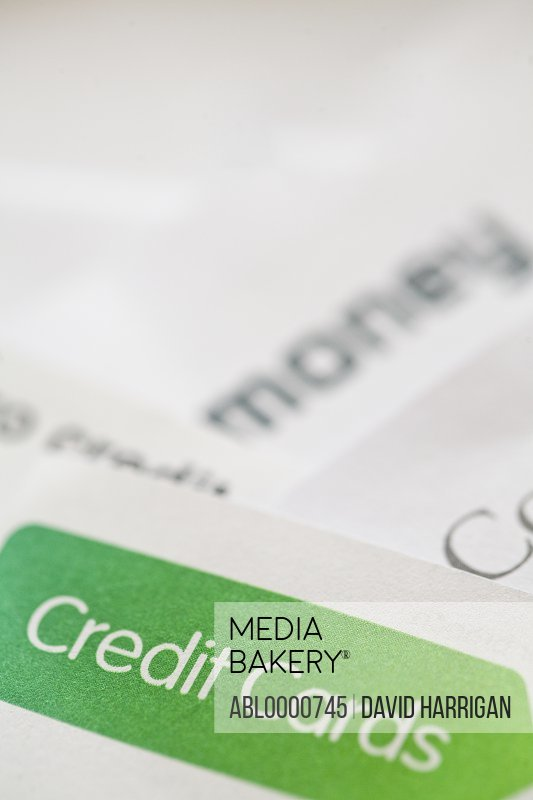Extreme close up of letters and financial documents