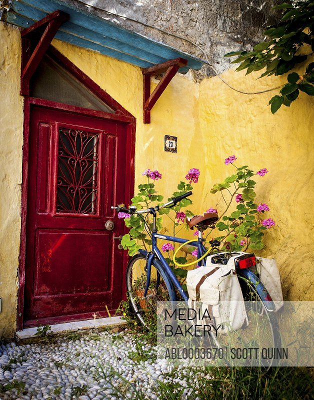 Bicycle Parked on a Front Porch