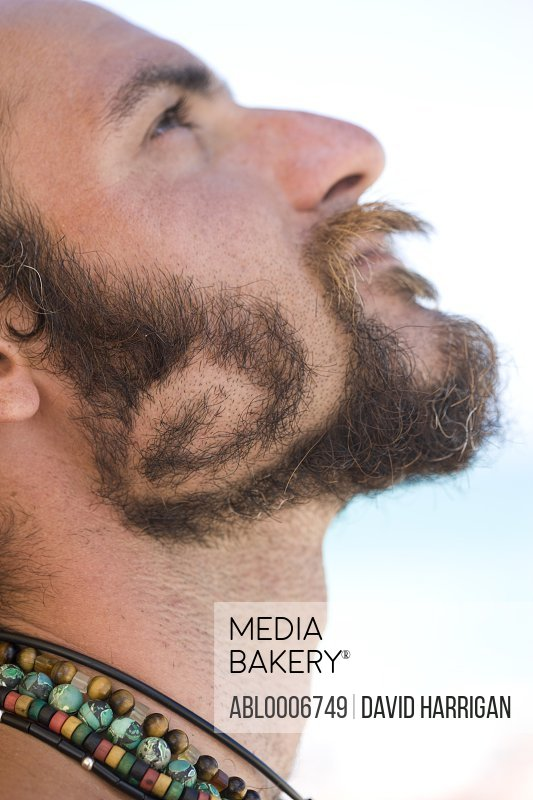 Young Man with Beard in Spiral Shape