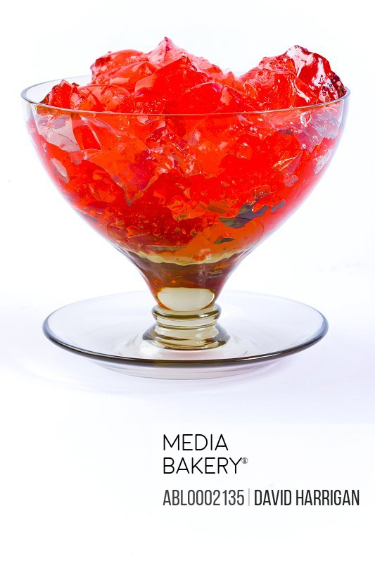 Red Gelatin Dessert in a Glass Cup