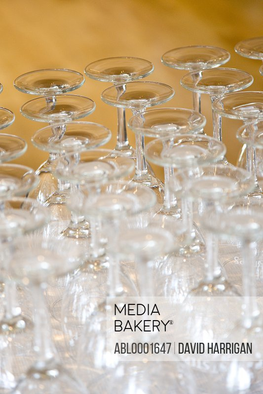 Close up of empty wine glasses