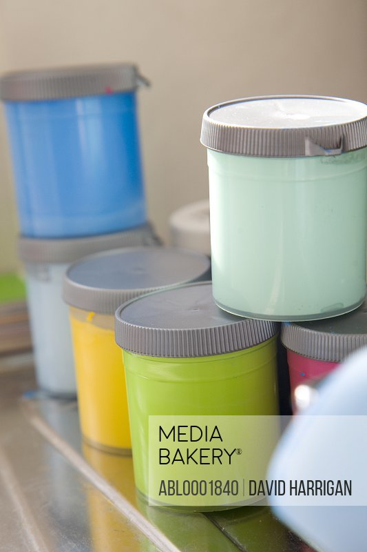 Close up of a paint color testers