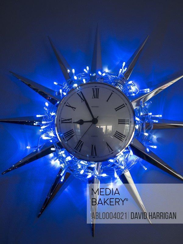 Christmas Lights Surrounding Wall Clock