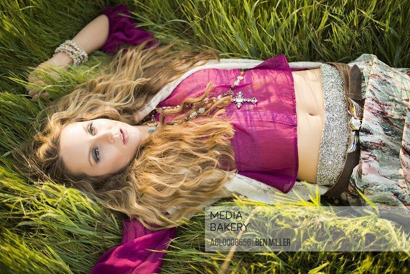 Woman Lying in Long Grass