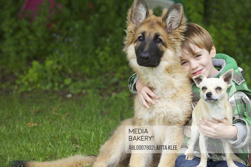 Boy Hugging Two Dogs