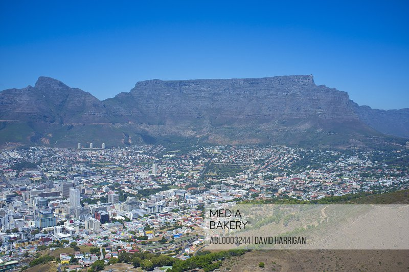 Aerial View of Table Mountain and Cityscape, Cape Town, South Africa