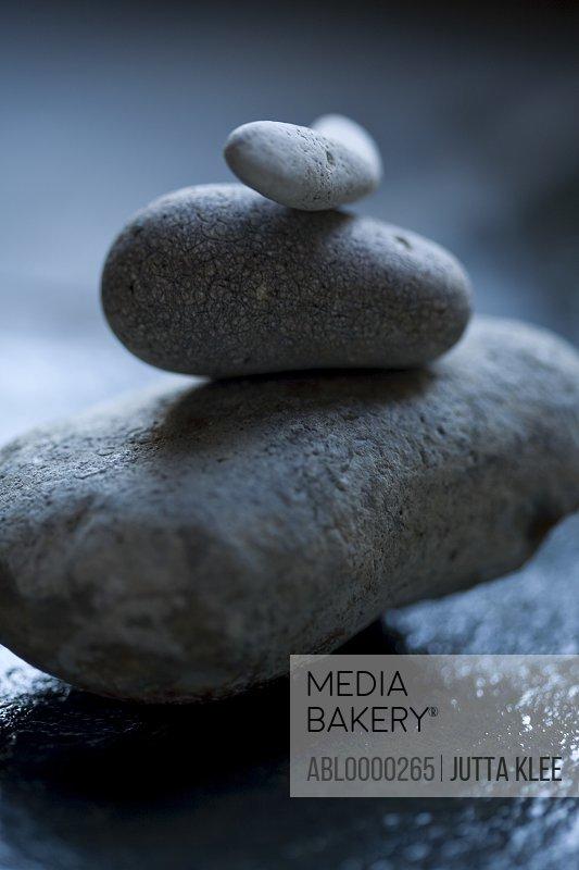 Close up of three gray stones