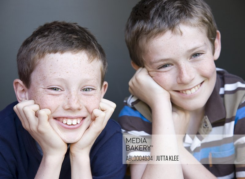 Portrait of two young boys smiling