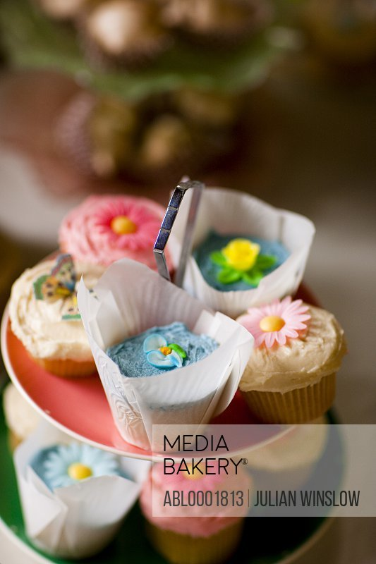 Close up of colorful cupcakes