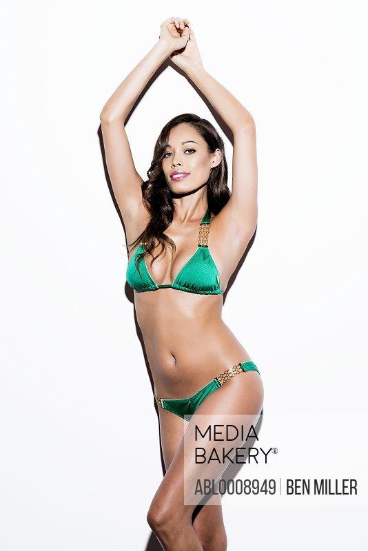 Woman Wearing Green Bikini