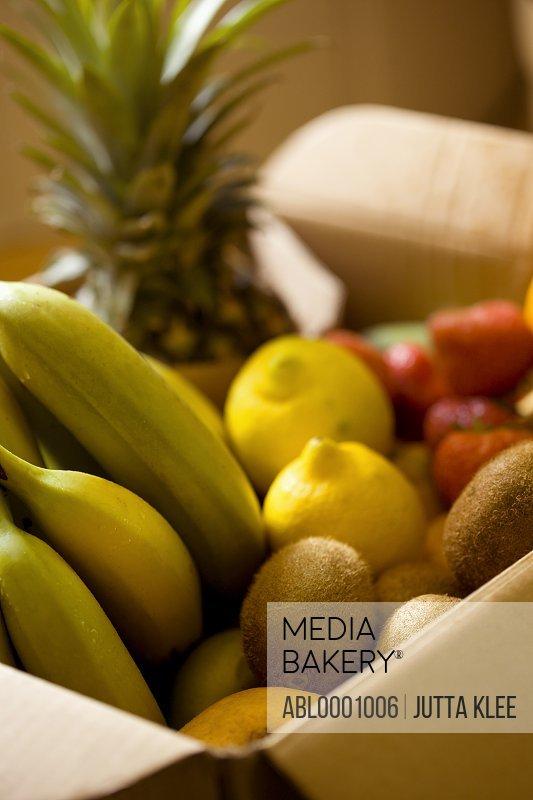 Close up of a box full of organic fruit