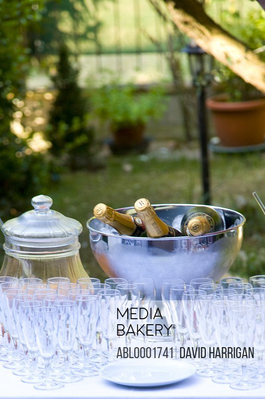 Champagne bottles in an ice bucket and rows of empty glasses